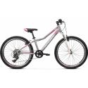 """Kross Lea Jr 2.0 2021 Srebrny - Różowy - Biały Mat Rower Młodzieżowy 24"""""""